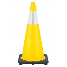 "28"" Yellow Traffic Cone Black Base, 7 lbs w/6"" Reflective Collar"