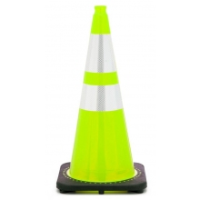 "28"" Lime Green Traffic Cone Black Base, 7 lbs w/ 6"" & 4"" 3M Reflective Collar"