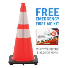 "Buy 28"" Orange Traffic Cone  w/ 6"" & 4"" 3M Reflective Collar & FREE First Aid Kit on sale online"