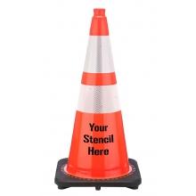 "Buy FREE STENCIL 28"" Orange Traffic Cone Black Base, 7 lbs w/ 6"" & 4"" 3M Reflective Collar on sale online"