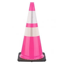 "28"" Pink Cone Black Base, 7 lbs w/ 6"" & 4"" 3M Reflective Collar"