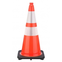 "28"" Orange Traffic Cone Black Base, 7 lbs w/ 6"" & 4"" 3M Reflective Collar"