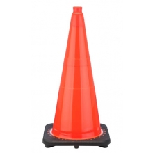 "28"" Orange Traffic Cone Black Base, 7 lbs"