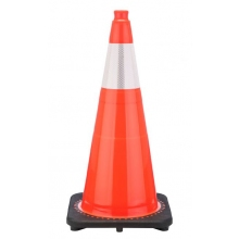 "28"" Orange Traffic Cone Black Base, 10 lbs w/6"" Reflective Collar"