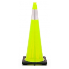"36"" Lime Green Traffic Cone Black Base, 10 lbs w/6"" 3M Reflective Collar"
