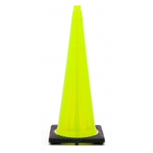"36"" Lime Green Traffic Cone Black Base, 10 lbs"