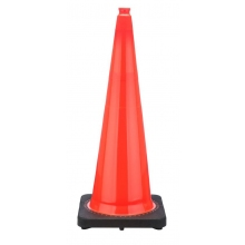 "36"" Orange Traffic Cone Black Base, 10 lbs"