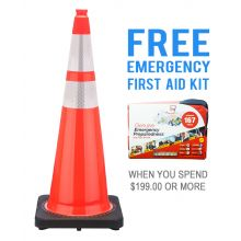 "Buy 36"" Orange Traffic Cone w/ 6"" & 4"" 3M Reflective Collar  & FREE First Aid Kit on sale online"