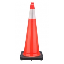 "36"" Orange Traffic Cone Black Base, 10 lbs w/6"" 3M Reflective Collar"