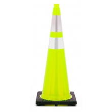 "36"" Lime Green Traffic Cone Black Base, 10 lbs w/ 6"" & 4"" 3M Reflective Collar"
