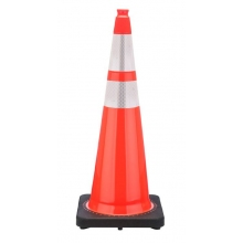 "36"" Orange Traffic Cone Black Base, 12 lbs w/ 6"" & 4"" 3M Reflective Collar"