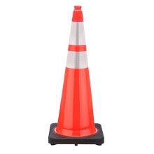 "36"" Orange Traffic Cone Black Base, 12 lbs w/ 6"" & 4"" 3M Reflective Collar"