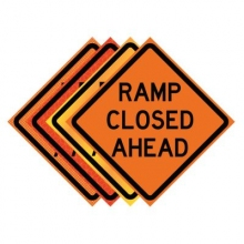 "36"" x 36"" Roll Up Traffic Sign - Ramp Closed Ahead"