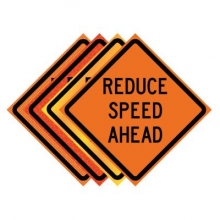 "36"" x 36"" Roll Up Traffic Sign - Reduce Speed Ahead"