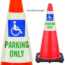 Reflective Cone Message Collar: Handicapped Parking Only