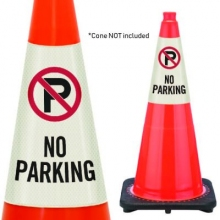 Reflective Cone Message Collar: NO PARKING