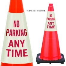 Reflective Cone Message Collar: No Parking Any Time