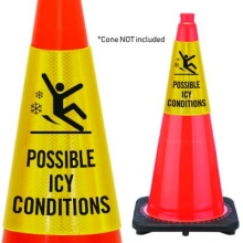 Reflective Cone Message Collar: Possible Icy Conditions