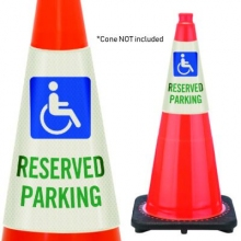 Reflective Cone Message Collar: Reserved Parking Handicap