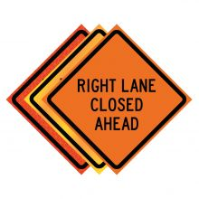 """Buy 36"""" x 36"""" Roll Up Traffic Sign - Right Lane Closed Ahead on sale online"""