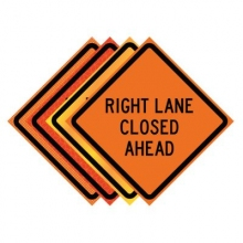 "48"" x 48"" Roll Up Traffic Sign - Right Lane Closed Ahead"