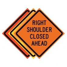 """Buy 36"""" x 36"""" Roll Up Traffic Sign - Right Shoulder Closed Ahead on sale online"""