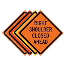 "36"" x 36"" Roll Up Traffic Sign - Right Shoulder Closed Ahead"