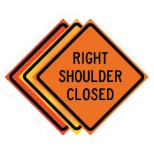 """Buy 36"""" x 36"""" Roll Up Traffic Sign - Right Shoulder Closed on sale online"""