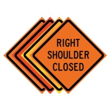 "36"" x 36"" Roll Up Traffic Sign - Right Shoulder Closed"