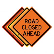 """Buy 36"""" x 36"""" Roll Up Traffic Sign - Road Closed Ahead on sale online"""