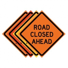 "36"" x 36"" Roll Up Traffic Sign - Road Closed Ahead"
