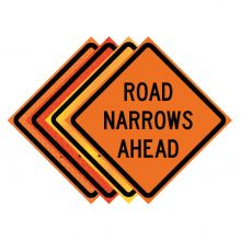 "Buy 36"" x 36"" Roll Up Traffic Sign - Road Narrows Ahead on sale online"