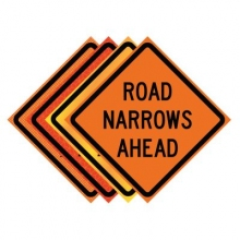 "36"" x 36"" Roll Up Traffic Sign - Road Narrows Ahead"