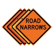 "36"" x 36"" Roll Up Traffic Sign - Road Narrows"