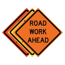 """Buy 36"""" x 36"""" Roll Up Traffic Sign - Road Work Ahead on sale online"""