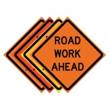 "36"" x 36"" Roll Up Traffic Sign - Road Work Ahead"