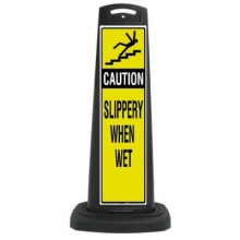 Valet Black Vertical Panel Caution w/Reflective Sign P20