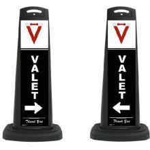 Buy Valet Black Vertical Panel w/White Arrow/Reflective Sign V10 on sale online