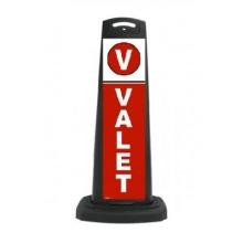 Valet Black Vertical Panel w/Red Background/Reflective Sign V6