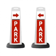 Valet White Vertical Panel/Red PARK and Arrow w/Reflective Sign P5