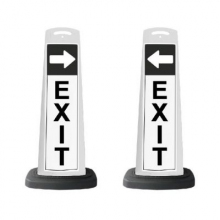 Valet White Vertical Panel EXIT w/Arrow/Reflective Sign P7