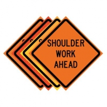 "36"" x 36"" Roll Up Traffic Sign - Shoulder Work Ahead"