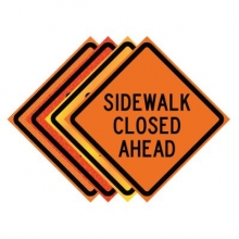 "36"" x 36"" Roll Up Traffic Sign - Sidewalk Closed Ahead"