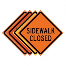 "36"" x 36"" Roll Up Traffic Sign - Sidewalk Closed"