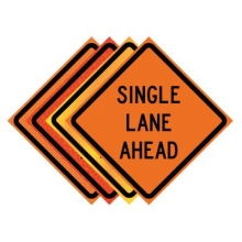 "36"" x 36"" Roll Up Traffic Sign - Single Lane Ahead"