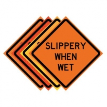 "36"" x 36"" Roll Up Traffic Sign - Slippery When Wet"
