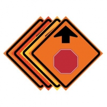 "36"" x 36"" Roll Up Traffic Sign - Stop Ahead Symbol"