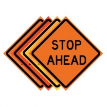 "36"" x 36"" Roll Up Traffic Sign - Stop Ahead"
