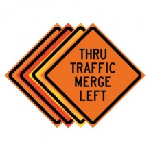 "36"" x 36"" Roll Up Traffic Sign - Thru Traffic Merge Left"