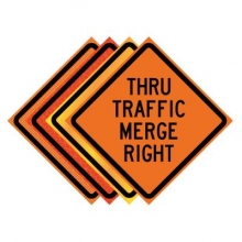 "36"" x 36"" Roll Up Traffic Sign - Thru Traffic Merge Right"